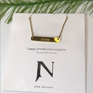 """NWT! Jook and Nona 18k gold plated """"love"""" necklace"""